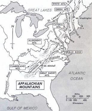 Appalachian Mountains Map