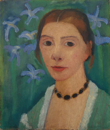 Self-portrait with green background and blue irises, Paula Modersohn-Becker, c. 1905
