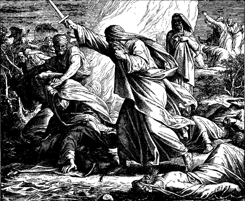 Slaughter of the Prophets of Baal, 1860 woodcut by Julius Schnorr von Karolsfeld