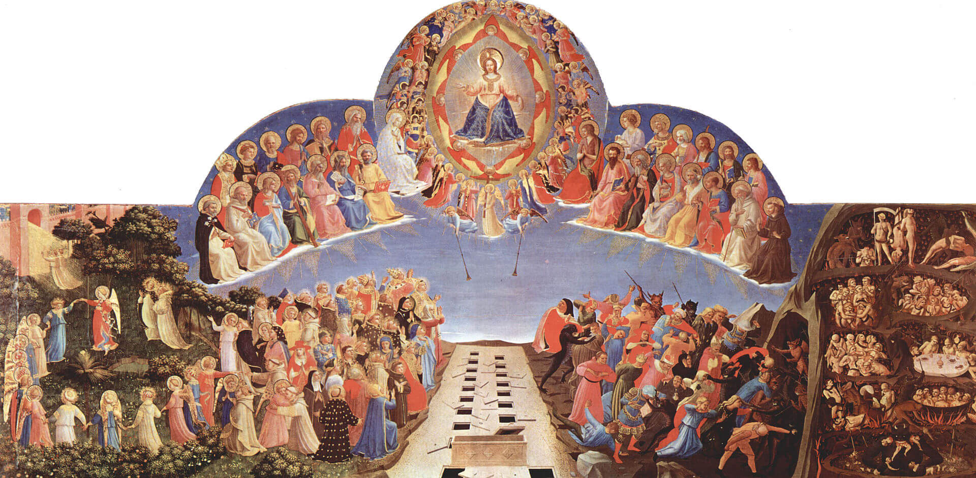 San Marco, Florence,The Day of Judgement, upper panel of an altarpiece. It shows the precision, detail and colour required in a commissioned work