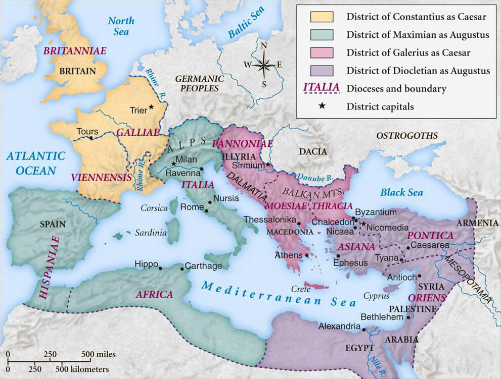 Map of the Roman Empire showing the four Tetrarchs' zones of influence after Diocletian's reforms.