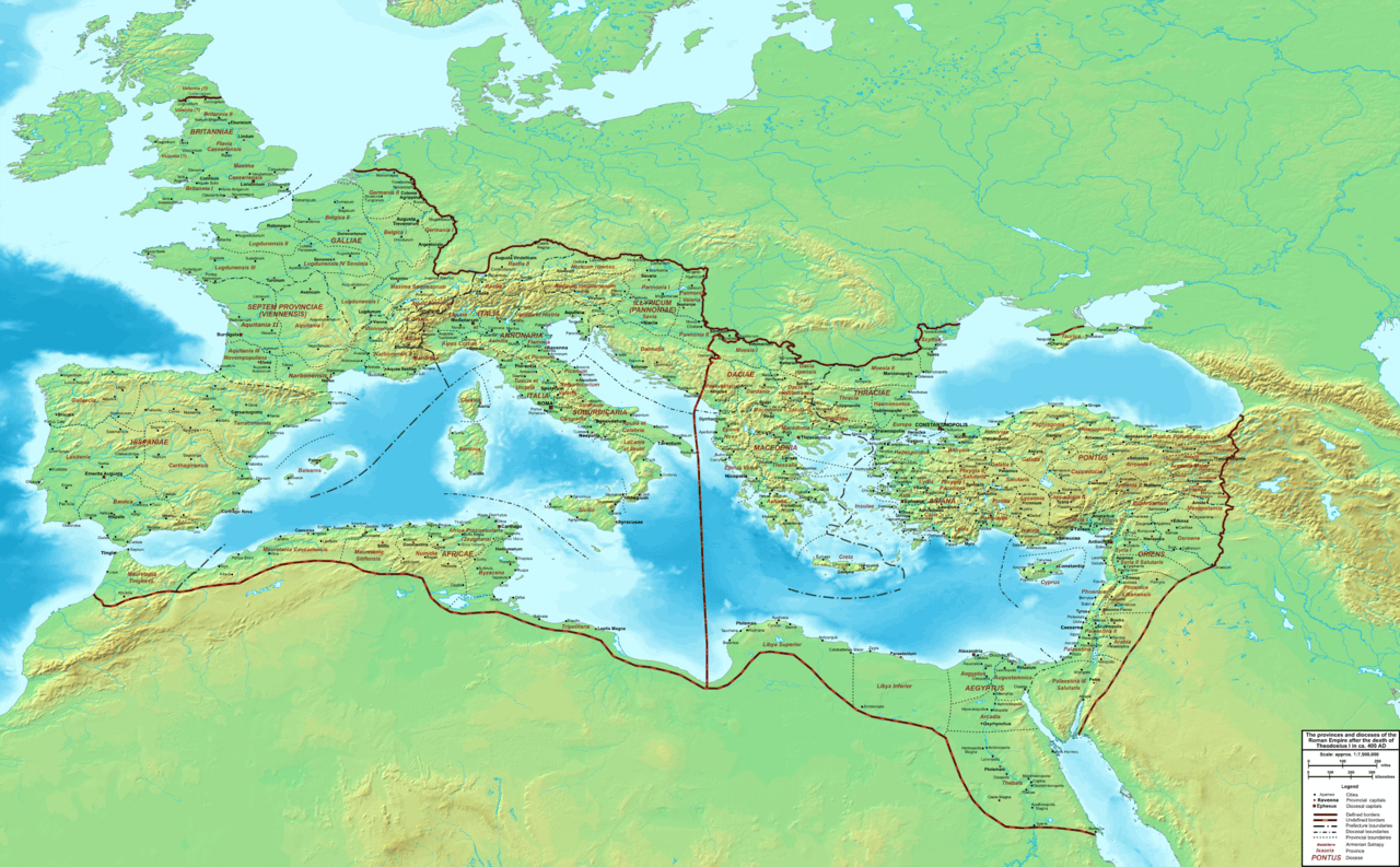 The dioceses and provinces of the Roman Empire in 395, before the final partition into Eastern and Western empires.