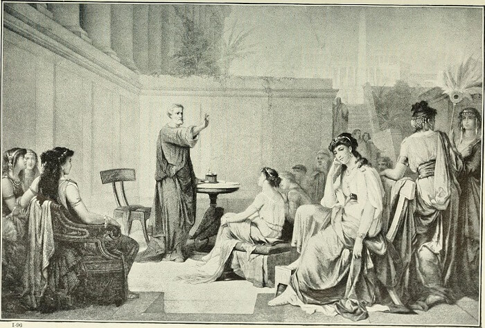 Illustration from 1913 showing Pythagoras teaching a class of women. Many prominent members of his school were women and some modern scholars think that he may have believed that women should be taught philosophy as well as men.