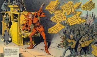 """""""The Yellow Press"""", by L. M. Glackens, portrays William Randolph Hearst as a jester distributing sensational stories"""