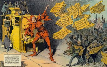 """The Yellow Press"", by L. M. Glackens, portrays William Randolph Hearst as a jester distributing sensational stories"