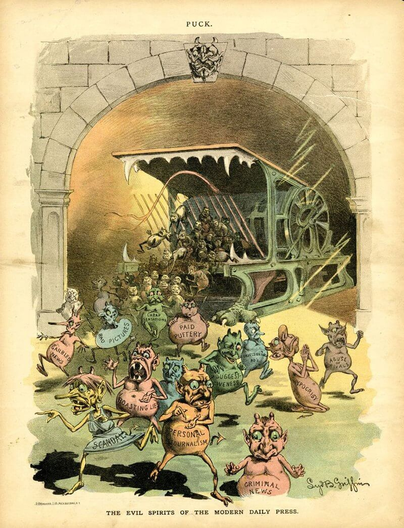 """""""Evil spirits"""", such as """"Paid Puffery"""" and """"Suggestiveness"""", spew from """"the modern daily press"""" in this Puck cartoon of November 21, 1888"""