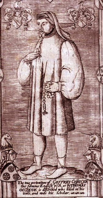 Engraving of Chaucer from Speght's edition.