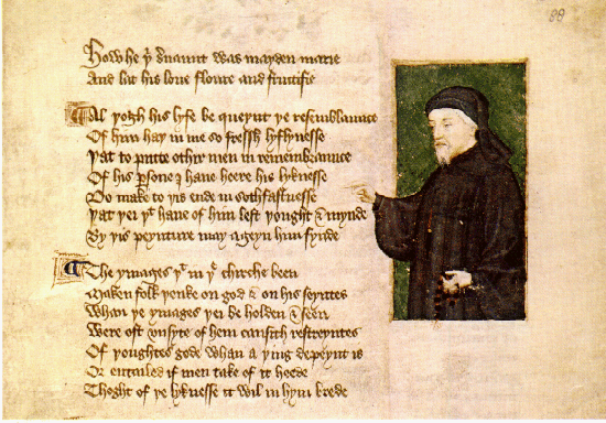Portrait of Chaucer from a 1412 manuscript by Thomas Hoccleve, who may have met Chaucer