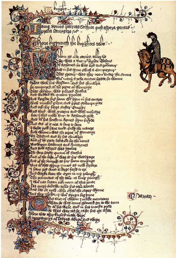 Beginning of The Knight's Tale—the first tale from Chaucer's Canterbury Tales—from the Ellesmere Manuscript, early 15th century