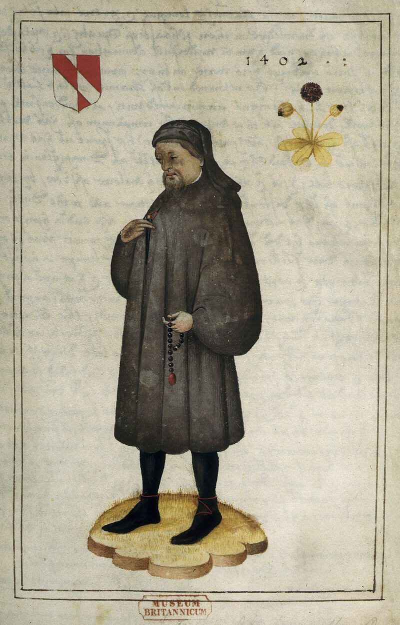 Portrait of Chaucer (16th century). The arms are: Per pale argent and gules, a bend counterchanged
