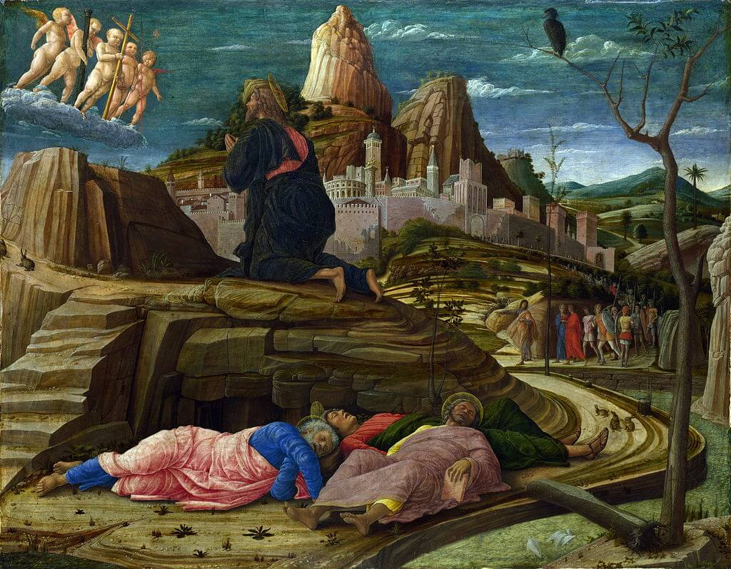 The Agony in the Garden (right panel of the predella of the San Zeno Altarpiece, 1455) National Gallery, London is the pinnacle of Mantegna's early style