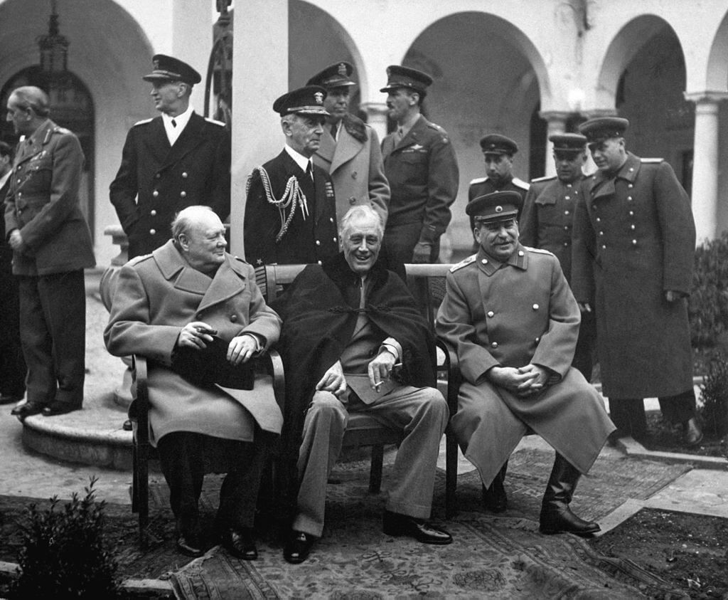 Churchill, Roosevelt, and Stalin at the Yalta Conference, February 1945.