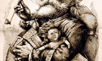 "1881 illustration by Thomas Nast who, along with Clement Clarke Moore's 1823 poem ""A Visit from St. Nicholas"", helped to create the modern image of Santa Claus."