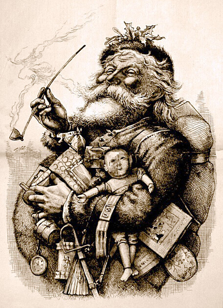 """1881 illustration by Thomas Nast who, along with Clement Clarke Moore's 1823 poem """"A Visit from St. Nicholas"""", helped to create the modern image of Santa Claus."""
