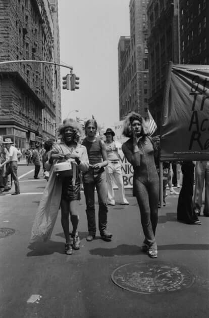 Johnson with her friends, including Sylvia Rivera, at a parade in NYC